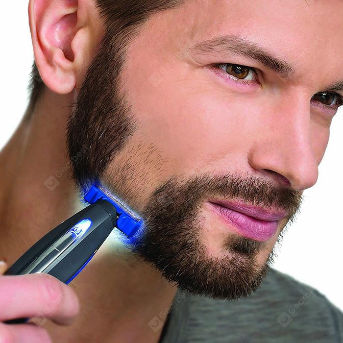 Electric Razor Rechargeable Beard Hair Cleaning Shaver - BLACK
