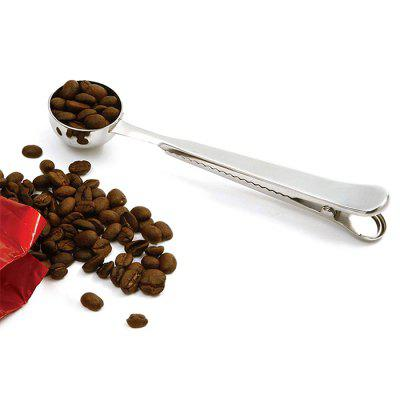Stainless Steel Sealing Clip Coffee Measuring Spoon two in one coffee clip measuring spoon