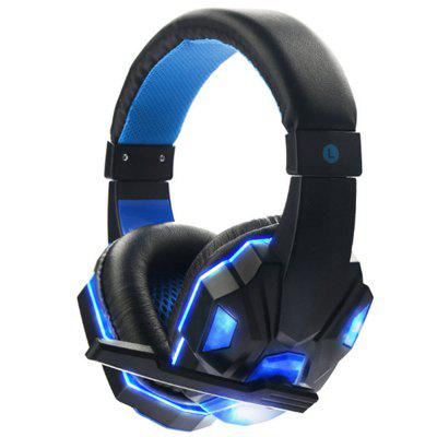 Stereo Gaming Headset for PS4 Xbox One PC Bass Over-Ear Headphones with Mic LED Lights and Volume