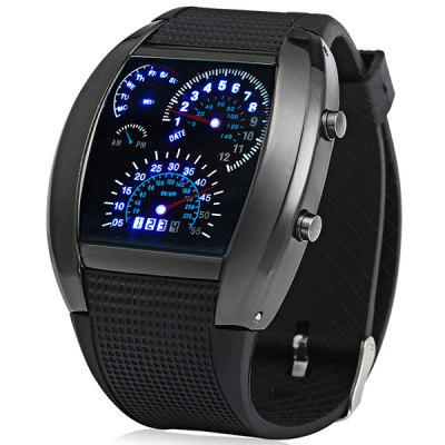 Niebieski LED Car Watch z tarczą Arch i Silicon Watch Band