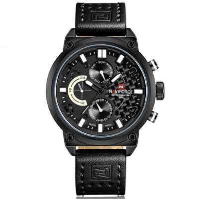 Naviforce Luxury Leather Band Men Sports Wristwatch