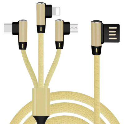Nylon 3-in-1 8 Pin Micro USB Type-C Charging Cable Cord medium corner duct surface cable cord wire raceway 1150 series 8 feet