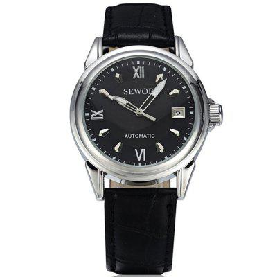 SEWOR S71002 Leather Band Automatic Mechanical Men Watch
