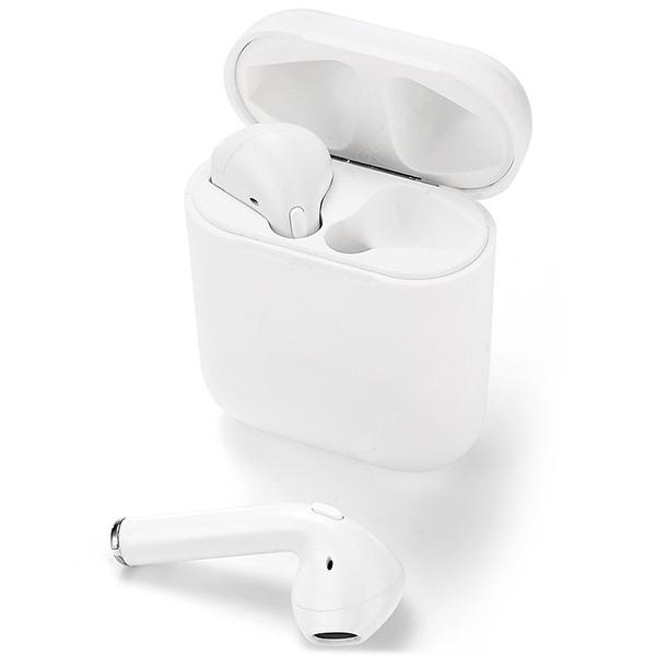 A7 Bluetooth Wireless Earbuds with Mic and Charging Case - WHITE