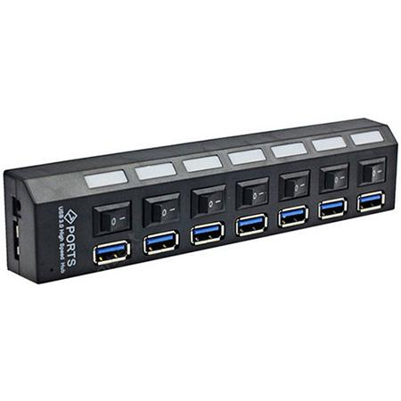 7 Ports USB 3.0 Hub Adapter with Independent Switch