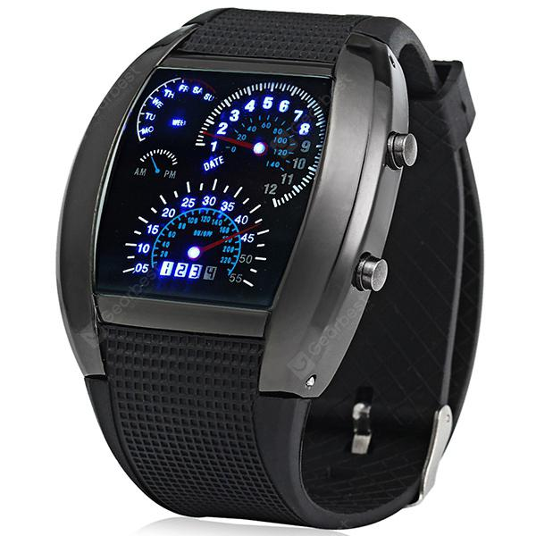 Blue LED Car Watch with Arch Dial and Silicon Watch Band