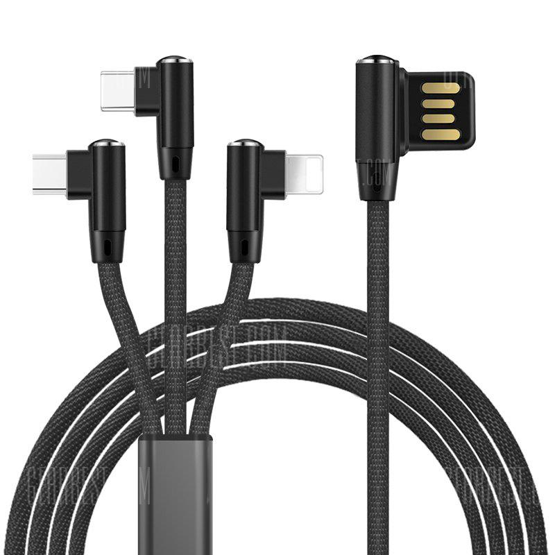 Bend Design 3-in-1 8 Pin Micro USB Type-C Data Cable