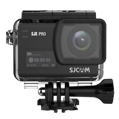 Gearbest Original SJCAM SJ8 Pro 4K 60fps WiFi Action Camera - BLACK FULL SET Dual Touch Screen / Ambarella H22 Chipset / IP68 Waterproof / EIS Stabilization