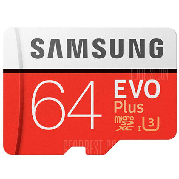 Арыгінальныя UHS-3 Samsung SDXC Card 64GB Micro Memory - RED каштаны 64GB