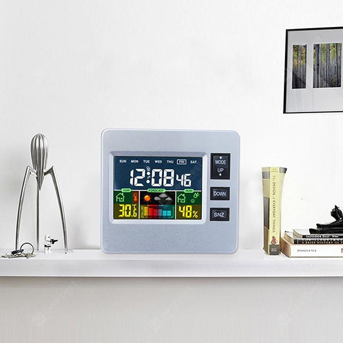 Multifunctional LCD Digital Weather Station Clock - Silver