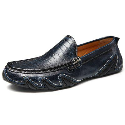 Men Fashion Handcrafted Slip-on Leather Casual Flat Shoes fashion genuine leather men oxford shoes slip on casual office formal business men shoes brand men wedding shoes men dress shoes