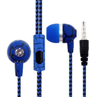 Crack Woven Cord Wired Earphone Universal In-ear Earbuds