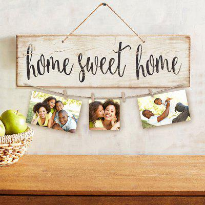 Wood Sweet Home Wall Hanging with Photo Clips