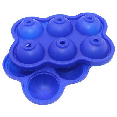 Six-hole Silicone Ice Cube Mold Tray With Lid