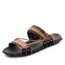 Trendy Solid Peep-toe Slippers for Men bf19fb717048