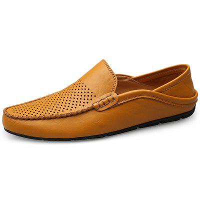 Men Stylish Breathable Anti-slip Leather Flat Shoes