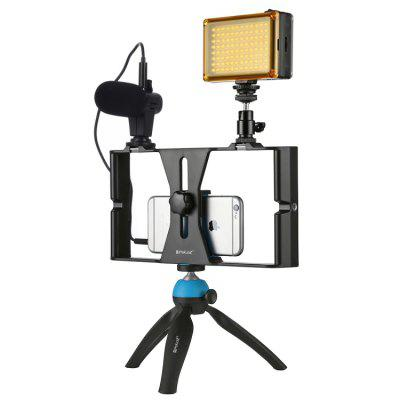 PULUZ PKT3023 LED Fill Light Video Cage Microphone Mini Tripod Mount Kits