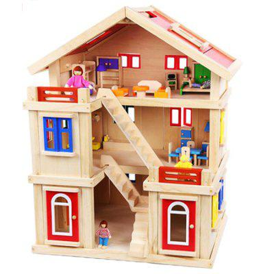 Three-tiered Doll House Toy Large Villa Shape Block Toy