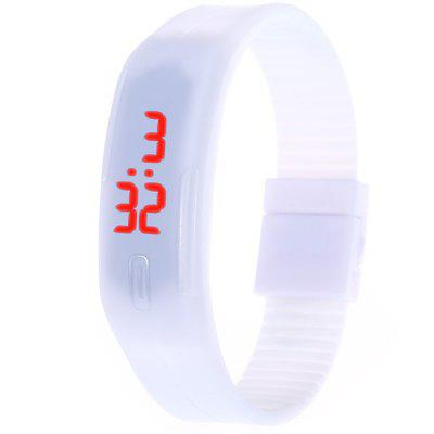 Data de urmarire a LED-urilor Data Red Red Digital Rectangle Dial Rubber Band