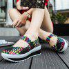 Women Stylish Breathable Slip-on Casual Woven Shoes - BLACK