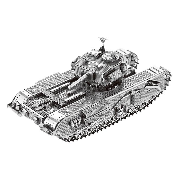 3D Metal Puzzle Tank Model Toy Gift Ornament - SILVER