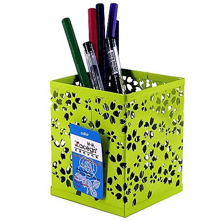 Xacegn X9019 Flower Hollow out Iron Square Pen Holder