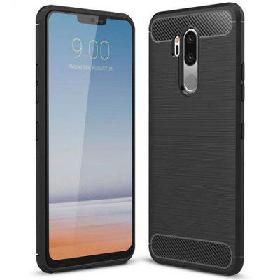 Naxtop Wire Drawing Carbon Fiber TPU Brushed Finish Phone Back Cover Case for LG G7 ThinQ