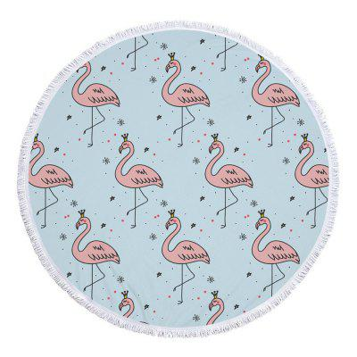 Fancy Cartoon Flamingo Microfiber Round Beach Towel krell illusion