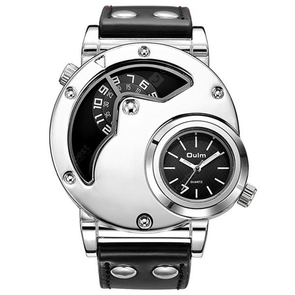 Oulm 9591 Multi-function Multiple Time Zone PU Leather Strap Quartz Watch