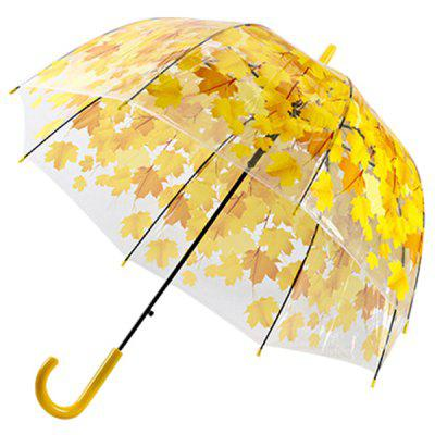 Trendy Automatic Transparent Leaf Stick Umbrella