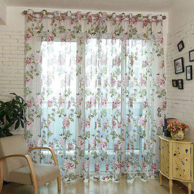 Flower Pattern Screen Sheer Curtain