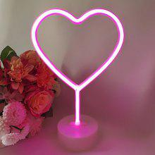 LED Heart Shape Night Light with Round Base