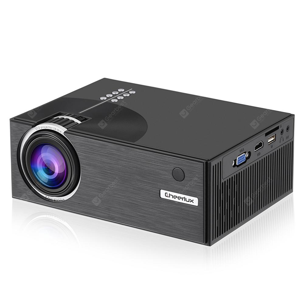 Cheerlux C7 LCD 1500 Lumens Home Theater Mini Projector - NATURAL BLACK US PLUG