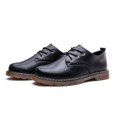 Round Toe Breathable Casual Leather Shoes for Men mycolen spring autumn 2018 new fashion round toe casual shoes men breathable lace up flats men casual shoes zapatillas hombre
