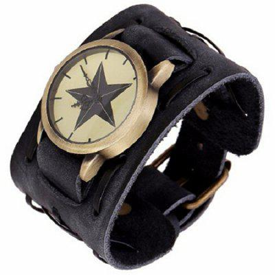 Men Vintage Wide Leather Bracelet Watch