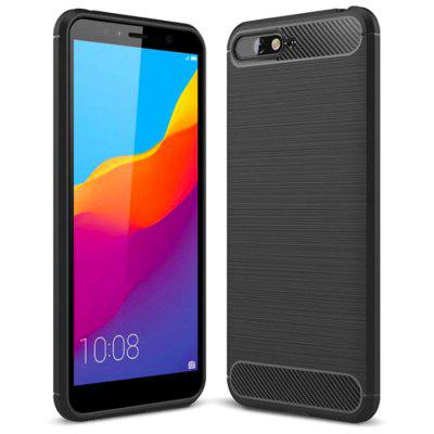 Naxtop Wire Drawing Carbon Fiber Textured TPU Brushed Finish Soft Phone Back Cover Case for HUAWEI Y6 2018