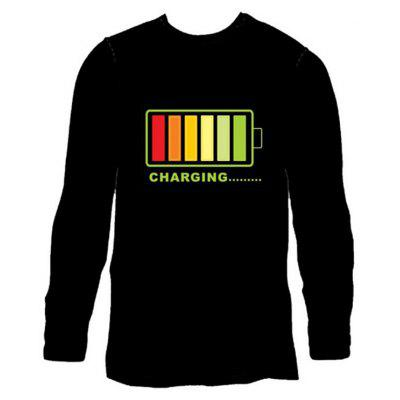 Men Voice Control Shiny Long Sleeve T-shirt with Battery Motif