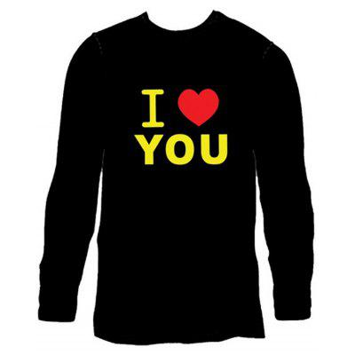 Male Voice Control Shiny Long Sleeve T-shirt with Letters Motifs long sleeve t shirt