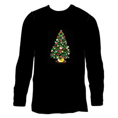 Male Voice Control Shiny T-shirt with Christmas Tree Motif