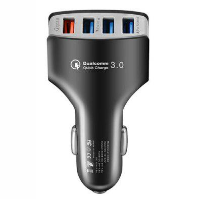 Gearbest 4 Ports QC3.0 Fast Charging Car Charger - ASH GRAY