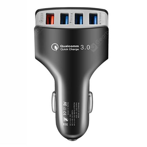 4 Ports QC3.0 Fast Charging Car Charger - ASH GRAY