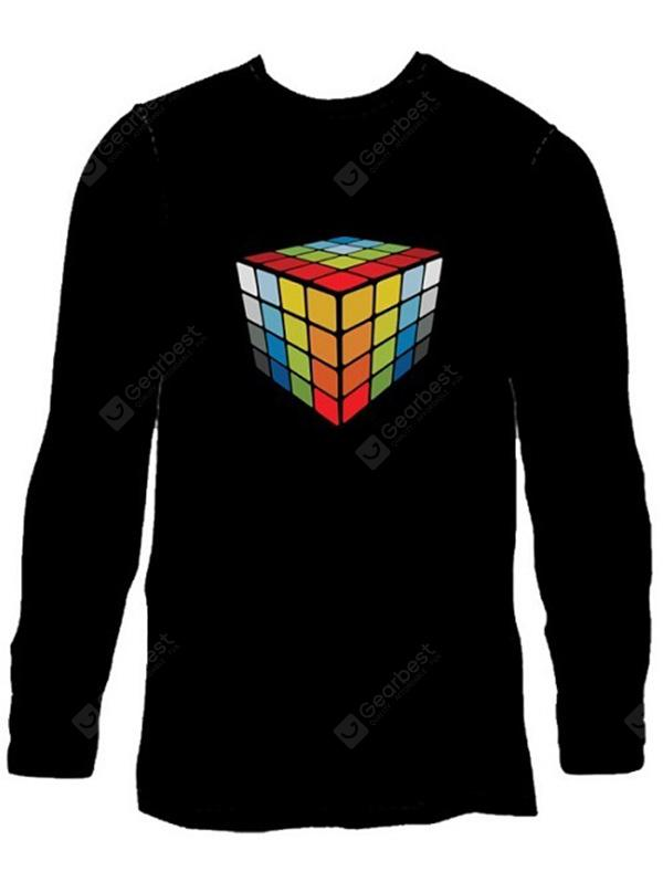 Male Voice Control Shiny T-shirt with Magic Cube Motif