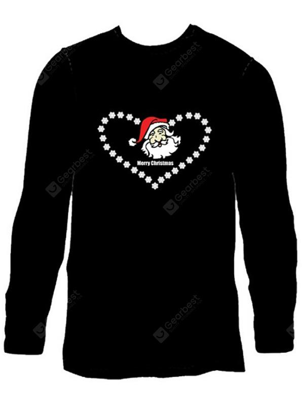 Male Cool Voice Control Shiny T-shirt with Santa Clause Stars Motifs