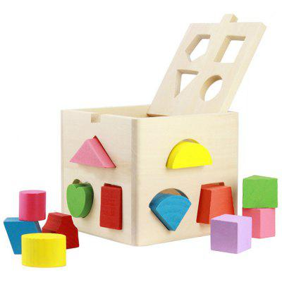 Thirteen Hole Intelligence Box Shape Matching Building Block Toy for Children match learning educational wood toys for kids digital shape intelligence box trailer early learn cube game baby blocks