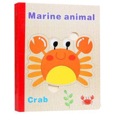 Baby Educational Cartoon Wooden Book Puzzle Toy abs steel chinese 9 rings puzzle educational toy silver red