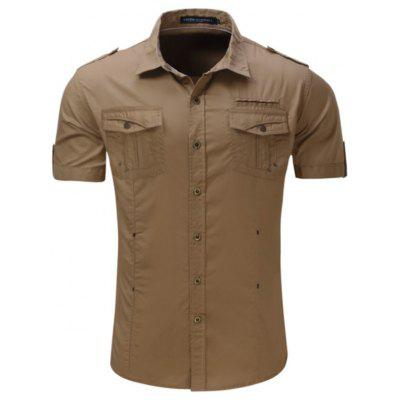 Men Outdoor Leisure Soft Short Sleeve Cotton Shirt