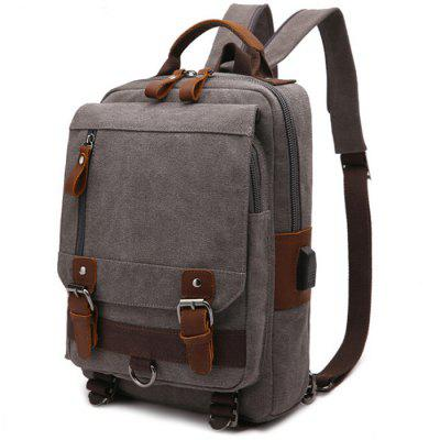 Trendy Durable Canvas Backpack with USB Port