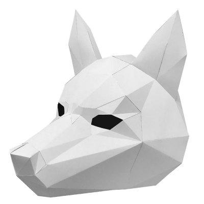 Creative DIY Paper Material Halloween Head Mask 1pcs lot ds24b full head mask fox head mask halloween mask funny nick fox latex realistic crazy rubber party sell at a loss usa