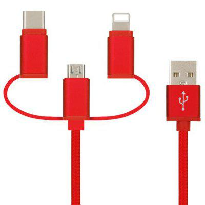 Portable 3-in-1 Nylon Braided USB Cable with 8 pin / Micro USB / Type-C Plug 4 3 inch 480x272 hmi th465 ut new with usb programming cable