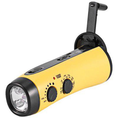 RD300 Hand Crank Flashlight Radio Emergency LED Support USB 5V Charging